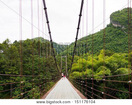 Rope bridge Heart mountain Unseen at Surat Thani, Thailand