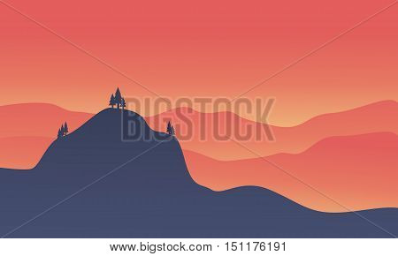 Silhouette of hight hill at sunset vector illustration