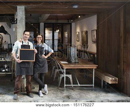 Couple Barista Coffee Shop Service Restaurant Concept
