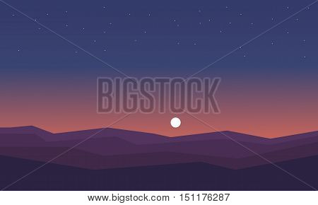 Silhouette of hill at night vector illustration