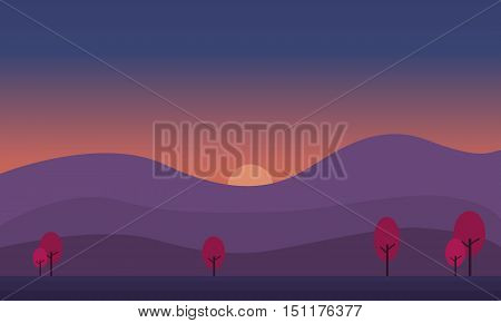 At sunrise hill scenery of silhouette illustration