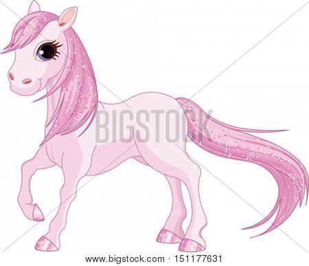 Illustration of magic pink horse