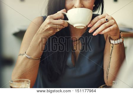 Woman Drinking Coffee Shop Relaxation Concept