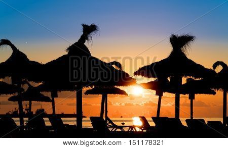 Parasols and sunbeds in ocean beach at sunset