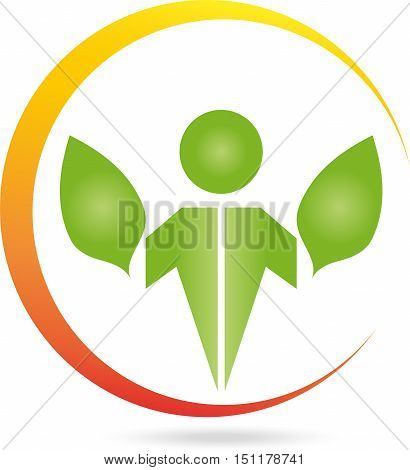 Human and leaves, sun, naturopath or nature logo