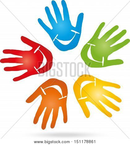 Hands and smile, colored, pediatrician and nursery school logo