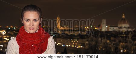 Young Woman At Piazzale Michelangelo In Florence, Italy