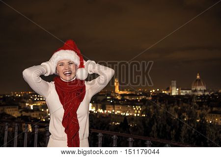 Woman In Christmas Hat At Piazzale Michelangelo In Florence