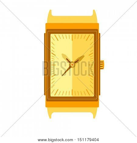Watch Stylish accessory for men. Wristwatch. time symbol. watch on white background. Flat style illustration.