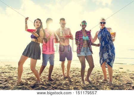 Diverse Young People Fun Beach Concept
