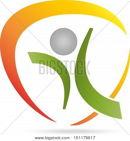 Person in motion, fitness and health, naturopathic logo