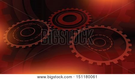 dark orange and red colors abstract gears technical vector background