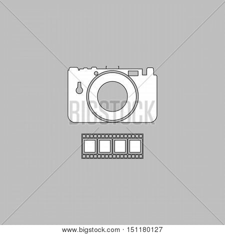 Camera Simple line vector button. Thin line illustration icon. White outline symbol on grey background