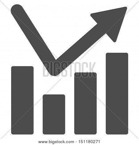 Bar Chart Trend icon. Glyph style is flat iconic symbol with rounded angles, gray color, white background.
