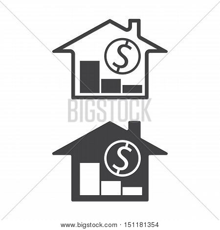 home, money symbols with trend down real estate property price decrease vector illustration