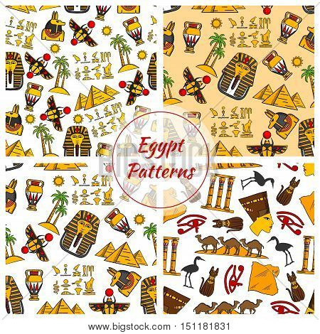 Egypt. Ancient Egyptian culture seamless patterns. Vector pattern of Egypt cultural objects Pyramids, Nefertiti bust, eye of Horus, Tutankhamun pharao mask, scarab, camels in desert, sacred cat and stork, Egypt map, cuneiform, Amon Ra