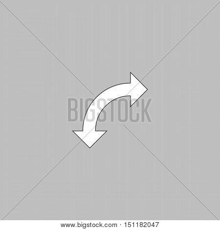 U-Turn Simple line vector button. Thin line illustration icon. White outline symbol on grey background