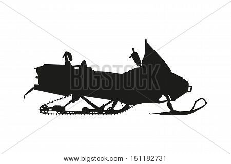 Silhouette of a snowmobile on a white background. Transport for extreme winter sports. Vector illustration