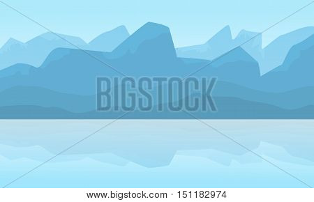 Silhouette of mountain landscape at winter illustration