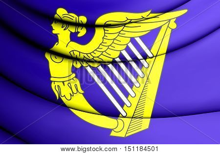 Blue Harp Flag Of Ireland. 3D Illustration.