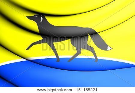 3D Flag Of Surgut (khanty-mansi Autonomous Okrug), Russia.