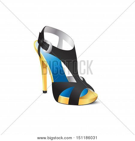 Black shoes with high heels. Vector illustration