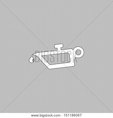 lube oil Simple line vector button. Thin line illustration icon. White outline symbol on grey background