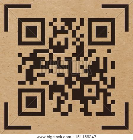 Vector illustration of Qr code sample on craft paper background. Scanned Qr code reads