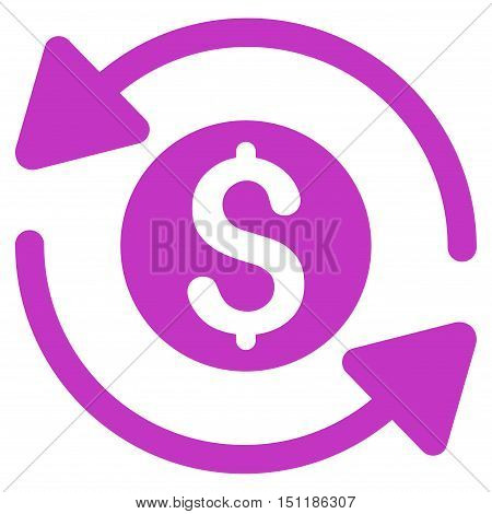 Money Turnover icon. Glyph style is flat iconic symbol with rounded angles, violet color, white background.