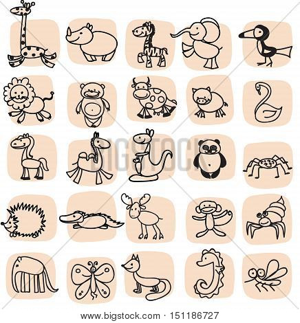 Children's drawings of doodle animals,illustration picture for your design