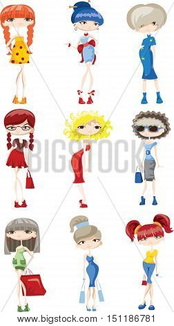 Cartoon fashionable girls,ilustration picture for your design