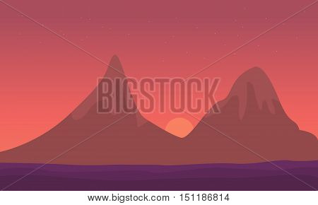 Landscape mountain at sunrise of silhouette vector illustration