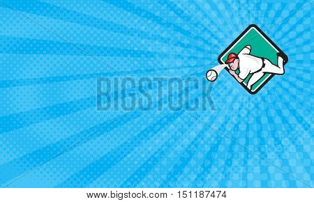 Business card showing Illustration of an american baseball player pitcher outfilelder throwing ball set inside diamond shape on isolated background done in cartoon style.