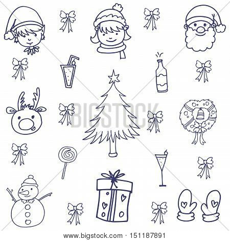 Doodle of christmas with hand draw vector art illustration