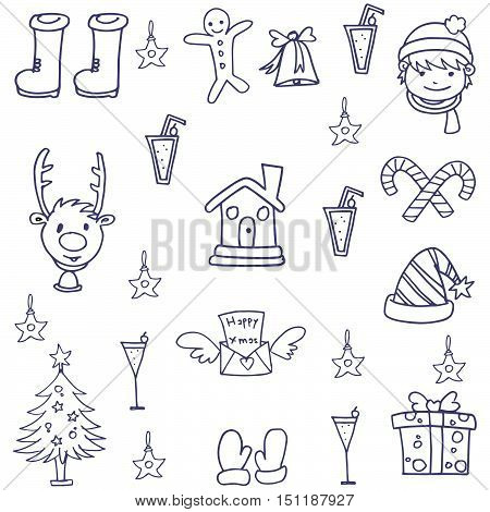 Hand draw vector art christmas of doodles