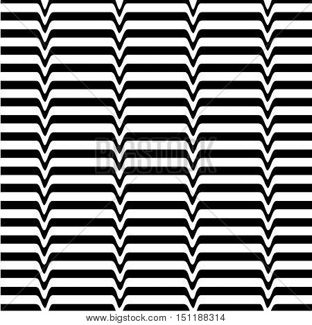 White black wave abstract line optical background. Monochrome movement illusion. Art design template. Vector illustration