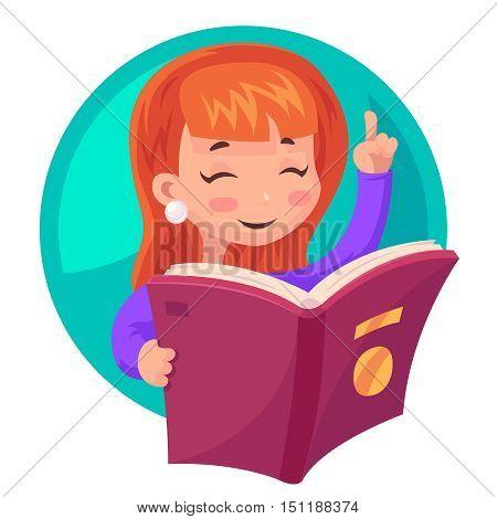 Cute Girl Mascot character reading book education character cartoon design vector illustration