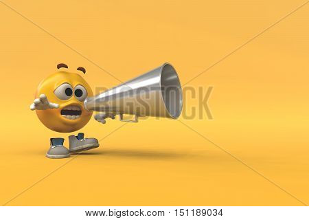 Emoticon talking using a megaphone on an orange background This is a 3d render illustration