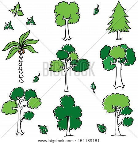 Doodle of tree set collection vector art illustration
