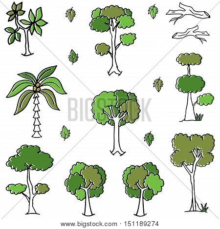 Doodle of tree collection set vector illustration