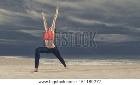 Young woman practicing yoga on the sea beach on a cloudy weather. Slim woman doing gymnastics over. This is a 3d render illustration