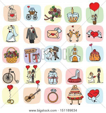 Doodle wedding set for invitation cards, including template design