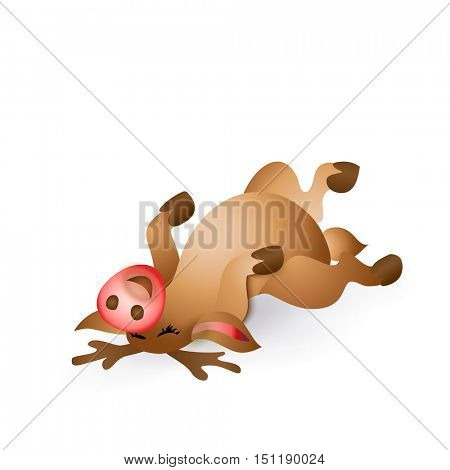 Happy Christmas reindeer lying belly up on white background. Cartoon vector illustration