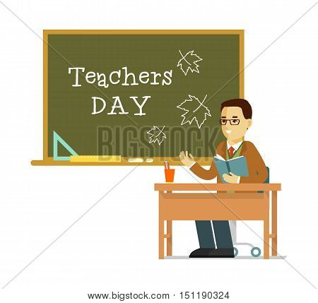 Young teacher man sitting at the table in classroom in class lesson, isolated on white background