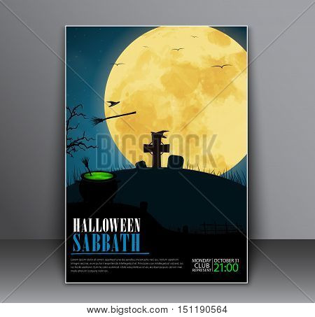 Design a poster (flyers cover) on Halloween night with the blue sky the cemetery on the hill and a hat with a green witch potion. Vector illustration