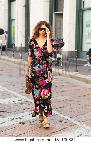 Fashionable Woman During Milan Fashion Week