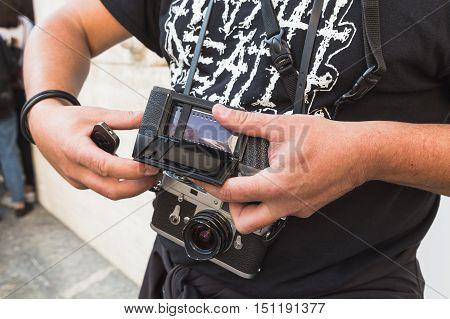 Analog Photographer During Milan Fashion Week