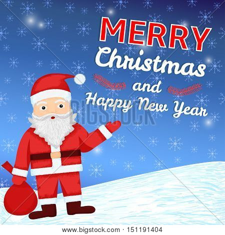 Merry Christmas and New Year colorful background with hand drawn Santa Claus and snowflakes