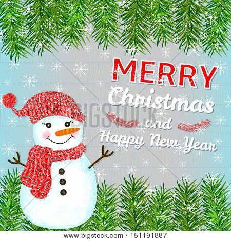 Merry Christmas and New Year card with hand drawn snowman pine branches and snowflakes on the wood background