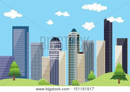 city urban landscape with building skyscrapper and blue sky and green tree vector